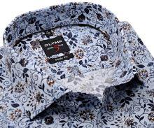 Koszula Olymp Level Five – ekskluzywna jasnoniebieska w stylizowane kwiaty - extra długi rękaw