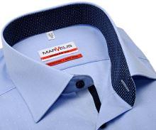 Koszula Marvelis Modern Fit – w jasnoniebieską kratkę i z wyszytym wzorem - extra długi rękaw