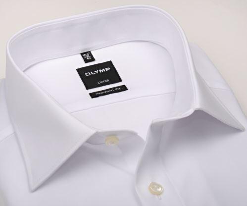 Koszula Olymp Luxor Modern Fit Uni Popeline - biała - extra długi rękaw