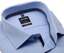 Koszula Olymp Modern Fit – jasnoniebieska z wyszytym wzorem, niebieską wewnętrzną stójką i plisą