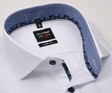 Koszula Olymp Level Five – biała z wyszytym wzorem, stójka wewnętrzna i mankietem