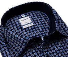 Koszula Olymp Comfort Fit – ciemnoniebieska z niebiesko-białymi kołami - extra długi rękaw
