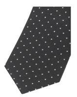 Krawat slim Olymp – czarny z tkanymi białymi kropeczkami