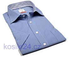 Koszula Olymp Modern Fit – w ciemnoniebieską krateczkę - krótki rękaw