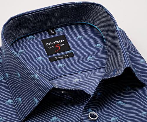 Koszula Olymp Level Five – ciemnoniebieska w białe paski z zwierzęcym potworem