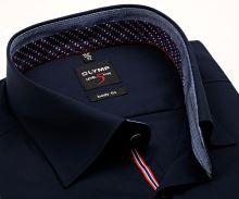 Koszula Olymp Level Five – ciemnoniebieska z czerwono-niebieską wewnętrzną stójką - krótki rękaw