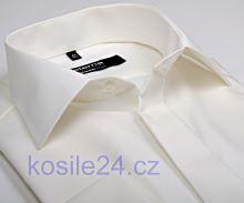 Koszula Eterna Modern Fit Uni Popeline slim - kolor champagne galowa z podwójnymi mankietami
