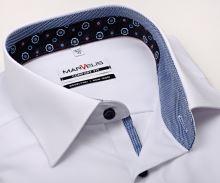 Koszula Marvelis Comfort Fit – biała z niebiesko-bilą stojką wewnętrzną, mankietem i plisą