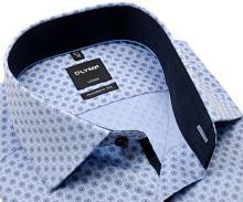 Koszula Olymp Modern Fit – jasnoniebieska z niebieskim wzorem i ciemnoniebieską wewnętrzną stójką