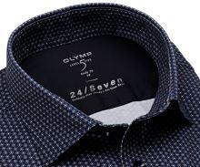 Koszula Olymp Level Five 24/Seven – luksusowa granatowa elastyczna z trójkolorowym wzorem - krótki rękaw