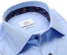 Koszula Eterna 1863 Comfort Fit Two Ply - luksusowa jasnoniebieska z kolorową stójką wewnętrzną i mankietem