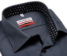 Koszula Marvelis Modern Fit – szaro-czarna koszula z wplecionym wzorem i czarną wewnętrzną stójką i plisą