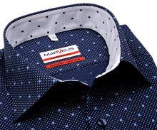 Koszula Marvelis Modern Fit - granatowa w kropki z odwrotną wewnętrzną stójką - extra długi rękaw