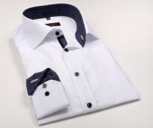 Koszula Eterna Modern Fit - biała z czerwono-niebieską wewnętrzną stójką, mankietem i plisą