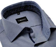 Koszula Venti Modern Fit – niebieska z delikatną strukturą i ciemnoniebieską stójką - extra długi rękaw