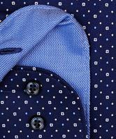 Koszula Olymp Level Five – granatowa w biały wzór i drobne kropki - extra długi rękaw