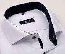 Koszula Eterna Comfort Fit Twill Cover - biała luksusowa i nieprześwitująca z granatową stójką wewnętrzną