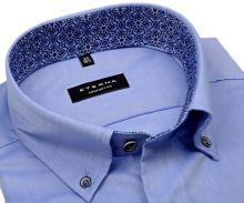 Koszula Eterna Comfort Fit Fine Oxford - błękitna z kolorowym kołnierzykiem wewnętrznym - krótki rękaw