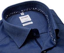 Koszula Olymp Comfort Fit – ciemnoniebieska z delikatną strukturą i wewnętrznym mankietem - extra długi rękaw