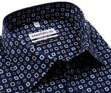 Koszula Marvelis Comfort Fit - ciemnoniebieska z beżowo-niebieskimi ornamentami