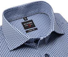 Koszula Olymp Level Five – w niebiesko-białe ornamenty - extra długi rękaw