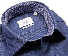Koszula Eterna Modern Fit 1863 Super Soft - luksusowa ciemnoniebieska z ukośnym wzorem i wewnętrzną stójką