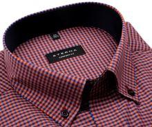 Koszula Eterna Comfort Fit – w czerwono-niebieską kratkę z wewnętrznym kołnierzykiem - extra długi rękaw