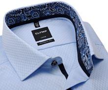 Koszula Olymp Modern Fit – luksusowa jasnoniebieska z wzorem, wewnętrzną stójką i mankietem