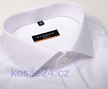 Koszula Eterna Slim Fit Chambray - biała galowa z podwójnymi mankietami i ukrytym zapinaniem