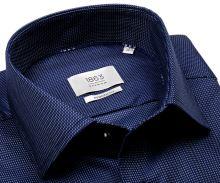 Koszula Eterna 1863 Modern Fit Two Ply - luksusowa ciemnoniebieska z jasnoniebieskim wzorem