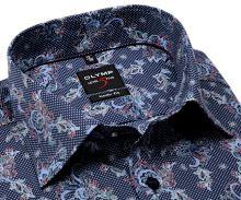 Koszula Olymp Level Five – ekskluzywna designerska ciemnoniebieska z kolorowym wzorem