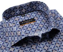 Koszula Eterna Slim Fit Twill - designerska z biało-niebiesko-brązowymi ornamentami - super długi rękaw