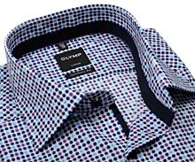 Koszula Olymp Luxor Modern Fit  – designerska w kolorowe kropki i kołnierzykiem wewnętrznym