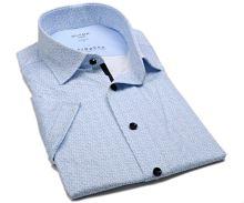 Koszula Olymp Modern Fit 24/Seven – luksusowa elastyczna z jasnoniebieskim wzorem - krótki rękaw