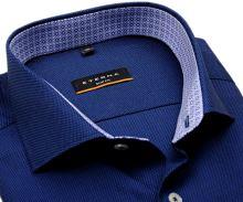 Koszula Eterna Slim Fit – ciemnoniebieska o delikatnej strukturze z wewnętrzną stójką - super długi rękaw