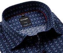 Koszula Olymp Modern Fit – ciemnoniebieska w niebiesko-czerwone koła