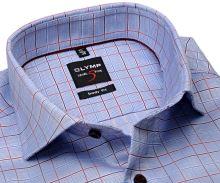 Koszula Olymp Level Five – niebiesko-biała w czerwoną kratkę