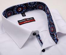 Koszula Marvelis Body Fit – biała z czerwono-niebieską wewnętrzną stójką, mankietem i plisą