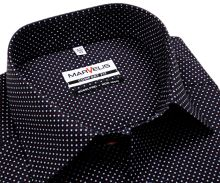 Koszula Marvelis Comfort Fit – ciemnoniebieska w czerwono-białe kropki - krótki rękaw