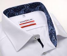 Luksusowa koszula Marvelis Modern Fit Twill – biała z niebieską wewnętrzną stójką