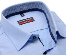 Koszula Marvelis Body Fit – bladoniebieska z wyszytym wzorem i wewnętrzną stójką - extra długi rękaw