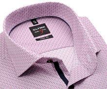Koszula Olymp Level Five – różowa z czerwono-białymi ornamentami