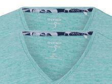 Jasnozielony lniany t-shirt Olymp Level Five z krótkim rękawem - dekolt V - korzystny zestaw 2 szt