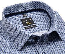 Koszula Olymp Super Slim – z niebieskim wzorem i wewnętrznym mankietem
