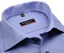 Koszula Eterna Modern Fit – niebieska o delikatnej strukturze z niebiesko-białą wewnętrzną stójką