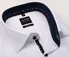 Koszula Olymp Level Five – luksusowa biała z diagonalną strukturą, wewnętrzną stójką i mankietem