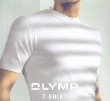 Biały bawełniany podkoszulek Olymp z krótkim rękawem - okrągły dekolt (2 sztuki)