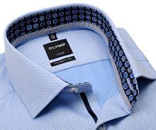 Koszula Olymp Modern Fit – luksusowa jasnoniebieska z wzorem i wewnętrzną stójką - extra długi rękaw