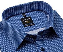 Koszula Olymp Super Slim – niebiesko-biała w nadrukowany wzór - extra długi rękaw