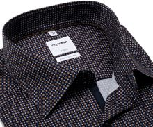 Koszula Olymp Comfort Fit – ciemnoniebieska z brązowym wzorem, wewnętrzną plisą i mankietem